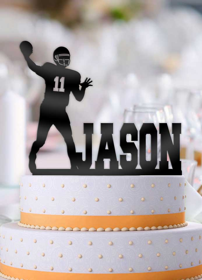 Personalized Football Male Quarterback Hail Mary with Number Birthday Cake Topper - Bee3dgifts