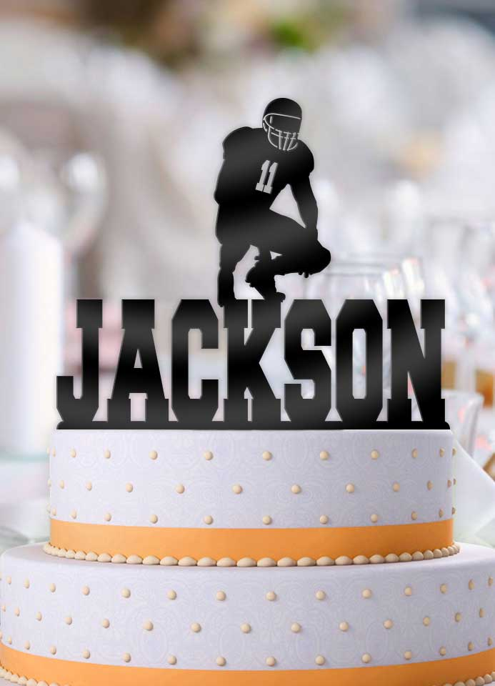 Personalized Football Male Kneeling with Number Birthday Cake Topper - Bee3dgifts
