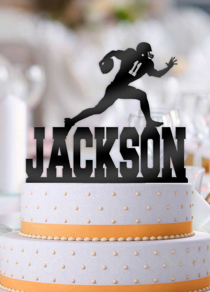 Personalized Football Male Running Back with Number Birthday Cake Topper - Bee3dgifts