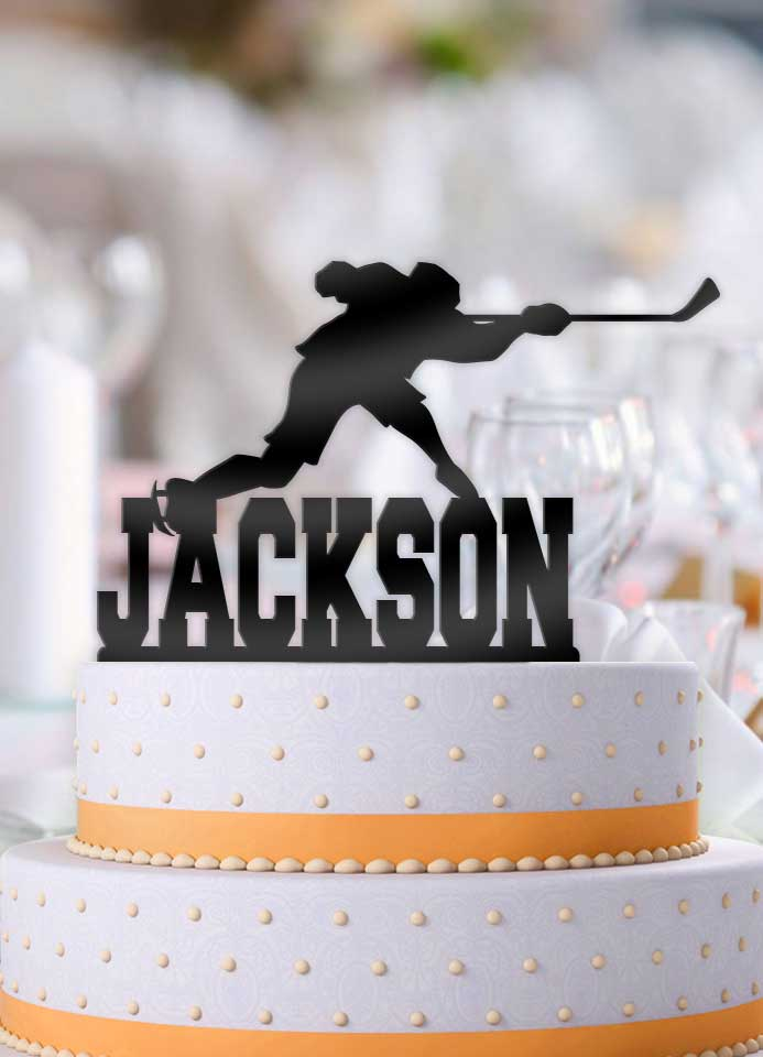 Personalized Hockey Male Slap Stick Birthday Cake Topper - Bee3dgifts