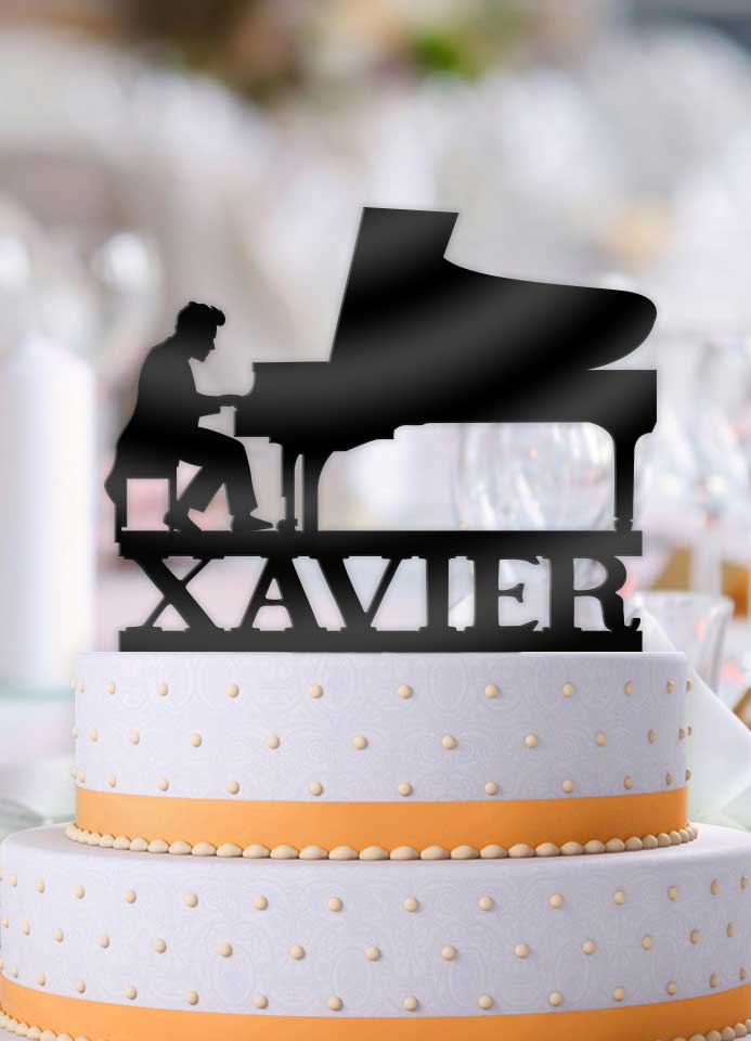 Personalized Male Pianist Birthday Cake Topper