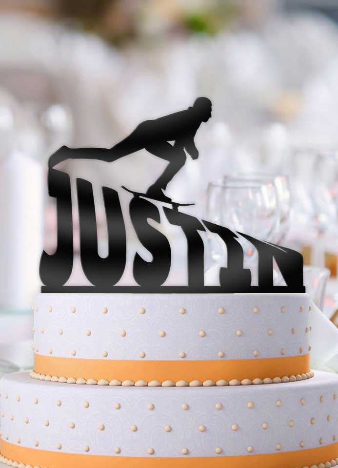 Personalized Skateboarder Male Slope Birthday Cake Topper - Bee3dgifts