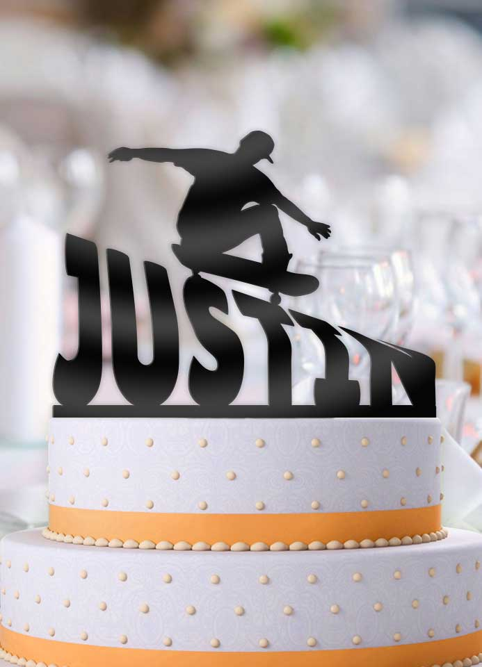 Personalized Skateboarder Male Grind Birthday Cake Topper - Bee3dgifts