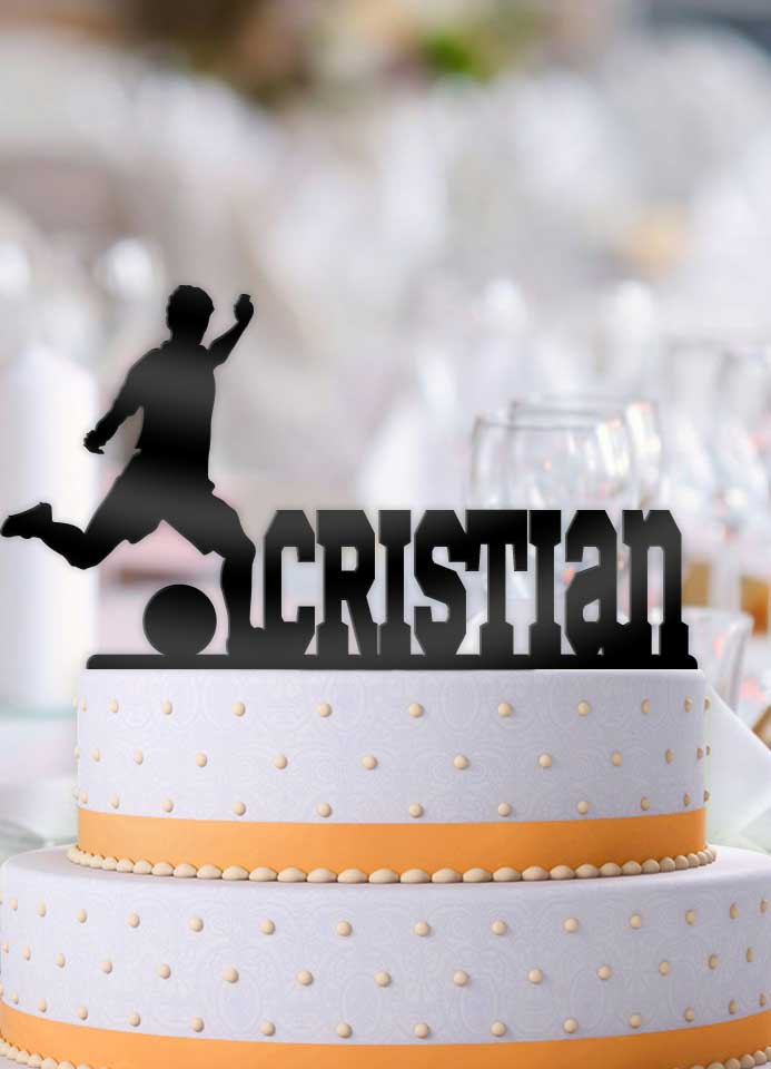 Remarkable Personalized Soccer Player Male Birthday Cake Topper Funny Birthday Cards Online Sheoxdamsfinfo