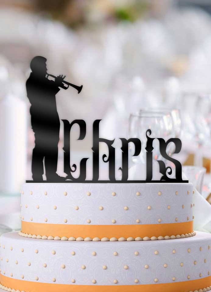 Pleasing Personalized Male Trumpet Music Birthday Cake Topper Personalised Birthday Cards Bromeletsinfo