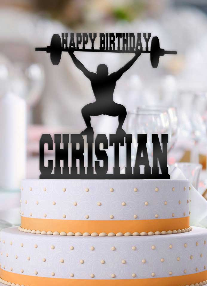 Personalized Male Weightlifter Birthday Cake Topper