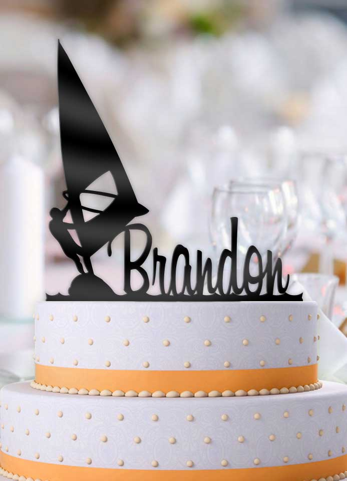 Personalized Windsurfing Male Birthday Cake Topper - Bee3dgifts
