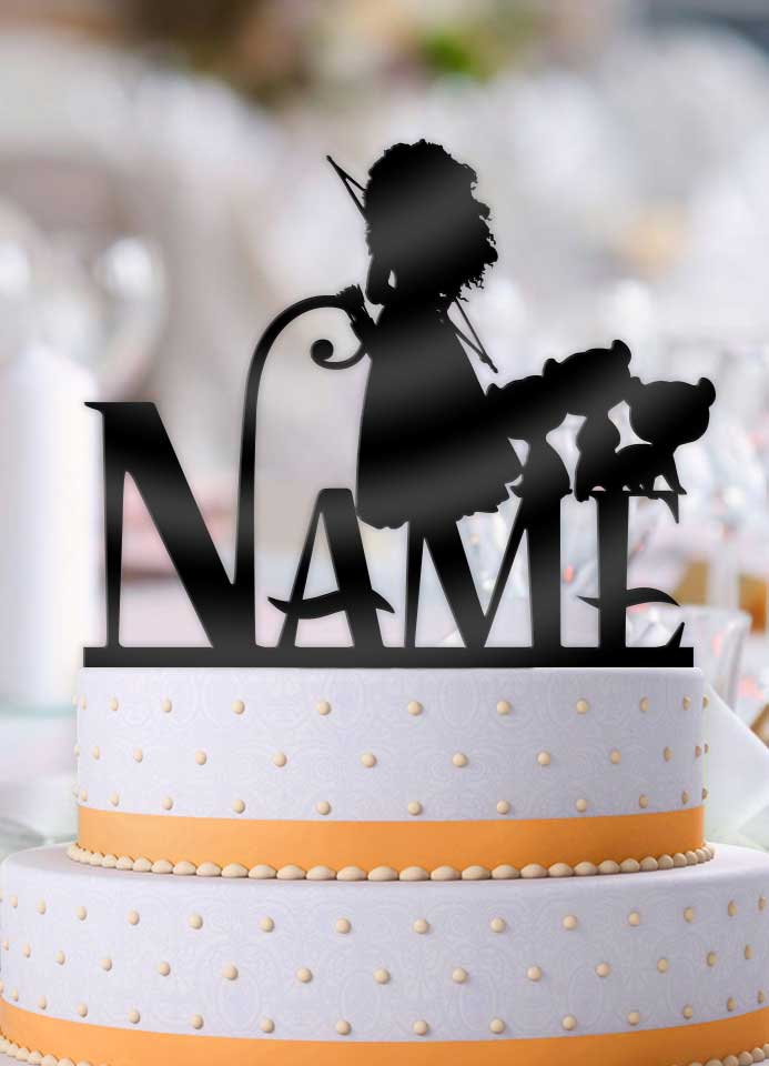Personalized Merida with Name Birthday Cake Topper - Bee3dgifts