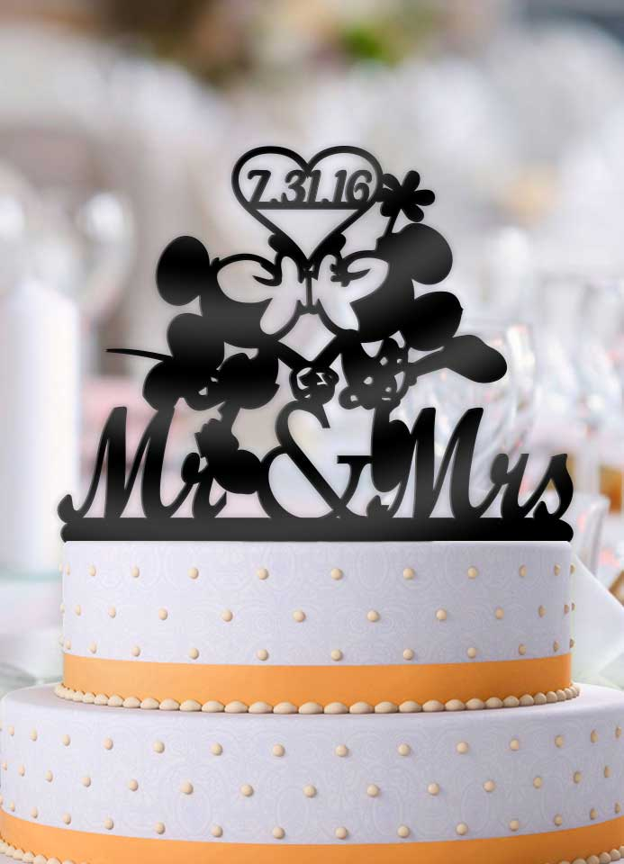 Personalized Mickey and Minnie Kiss Heart with Date Wedding Cake Topper - Bee3dgifts