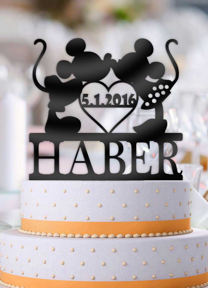 Personalized Mickey and Minnie Kiss Heart with Name and Date Wedding Cake Topper - Bee3dgifts