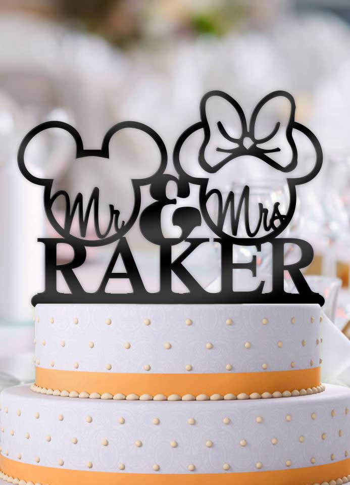 Personalized Mickey and Minnie Outline with Name Wedding Cake Topper