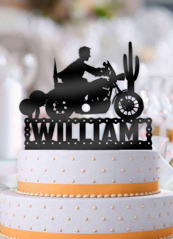 Personalized Male Motorcycle Birthday Cake Topper - Bee3dgifts