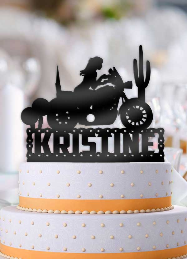 Personalized Female Motorcycle Birthday Cake Topper - Bee3dgifts