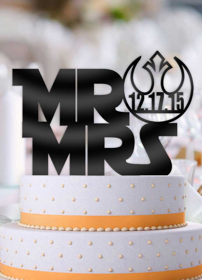 Personalized Star Wars Style Mr and Mrs with Date Wedding Cake Topper - Bee3dgifts
