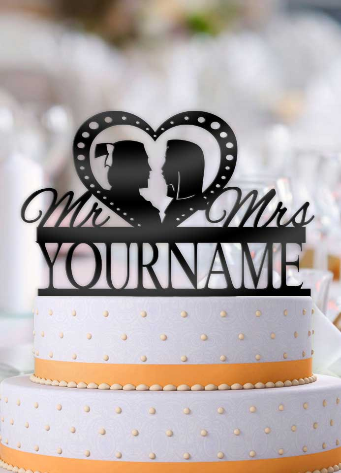 Personalized Mulan and Shang Profile Wedding Cake Topper - Bee3dgifts