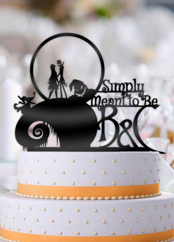 Personalized Jack and Sally Simply Meant To Be with Initials Wedding Cake Topper - Bee3dgifts