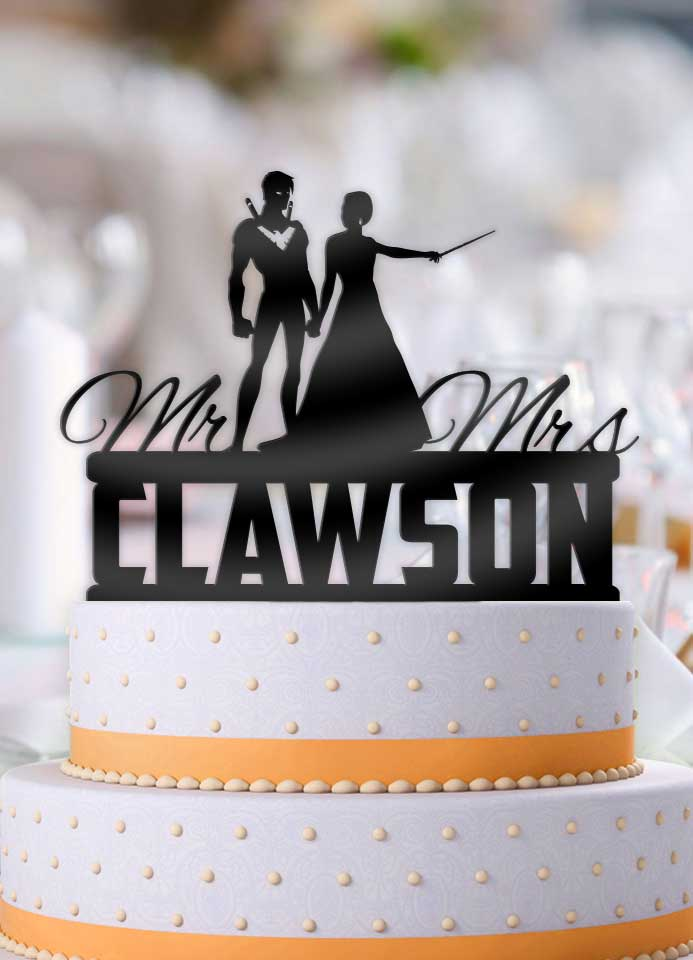 Personalized Nightwing with Mage Bride with Name Wedding Cake Topper - Bee3dgifts