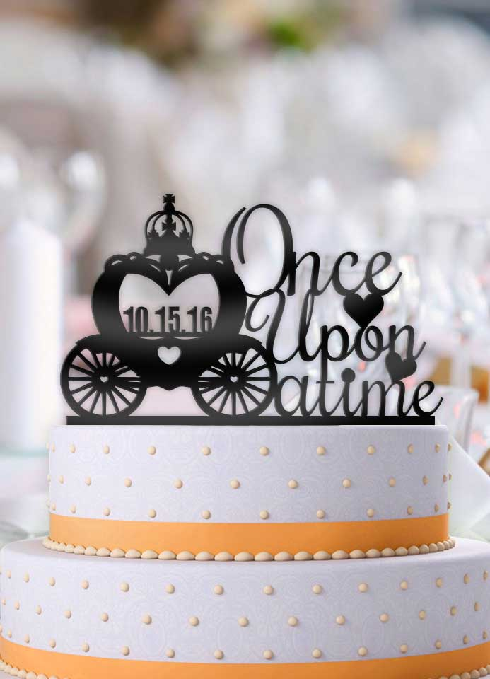 Once Upon A Time Carriage with Date Wedding Cake Topper - Bee3dgifts