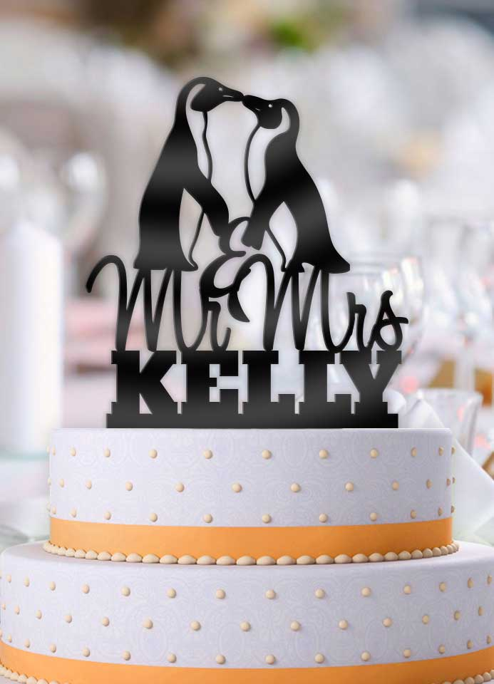 Personalized Penguins with Name Wedding Cake Topper - Bee3dgifts