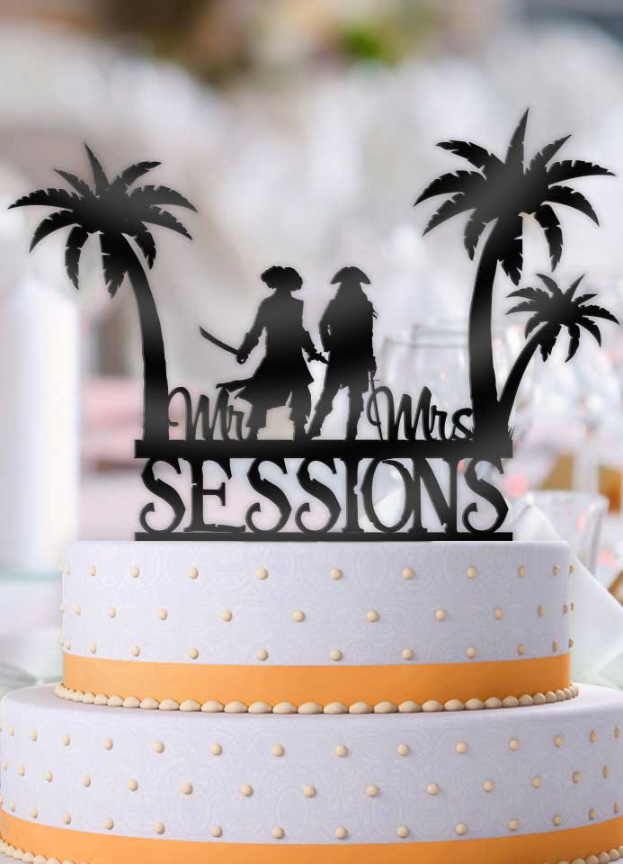 Personalized Tropical Beach Pirates with Name Wedding Cake Topper - Bee3dgifts