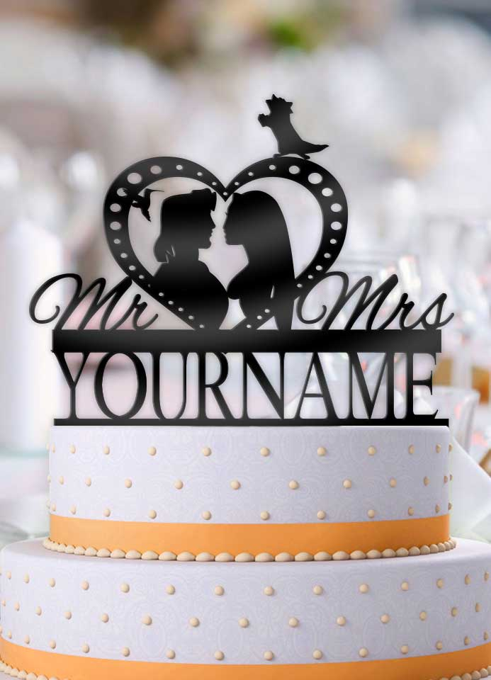 Personalized Pocahontas and John Smith Profile Wedding Cake Topper - Bee3dgifts