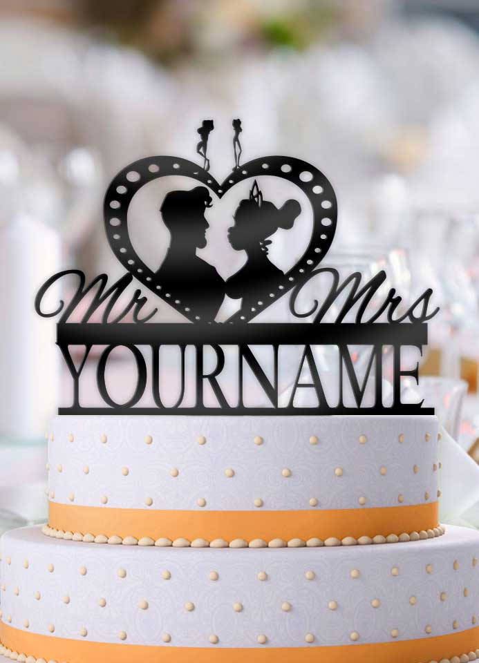 Personalized Princess Tiana and Prince Naveen Profile Wedding Cake Topper - Bee3dgifts