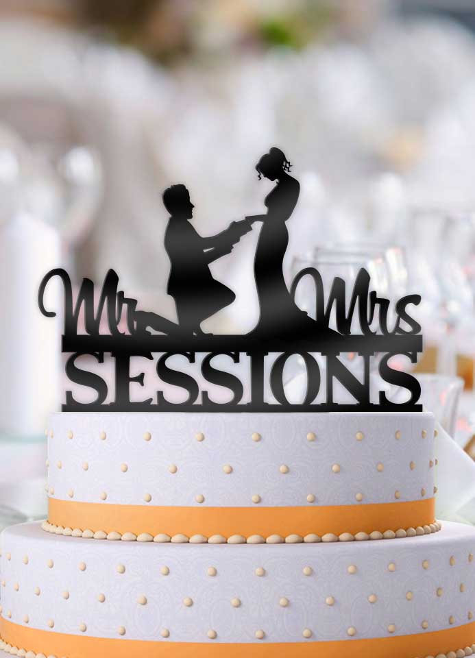 Personalized Proposing Couple with Name Wedding Cake Topper - Bee3dgifts