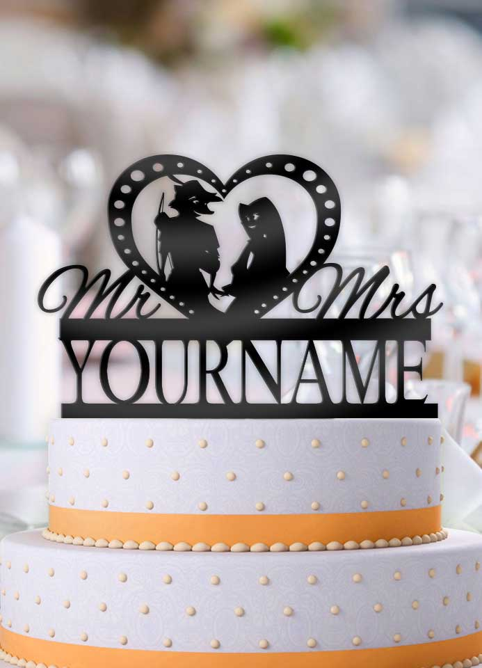 Personalized Robin Hood and Maid Marian Profile Wedding Cake Topper - Bee3dgifts