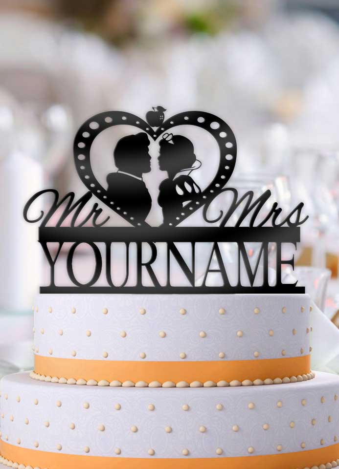 Personalized Snow White and Prince Charming Profile Wedding Cake Topper