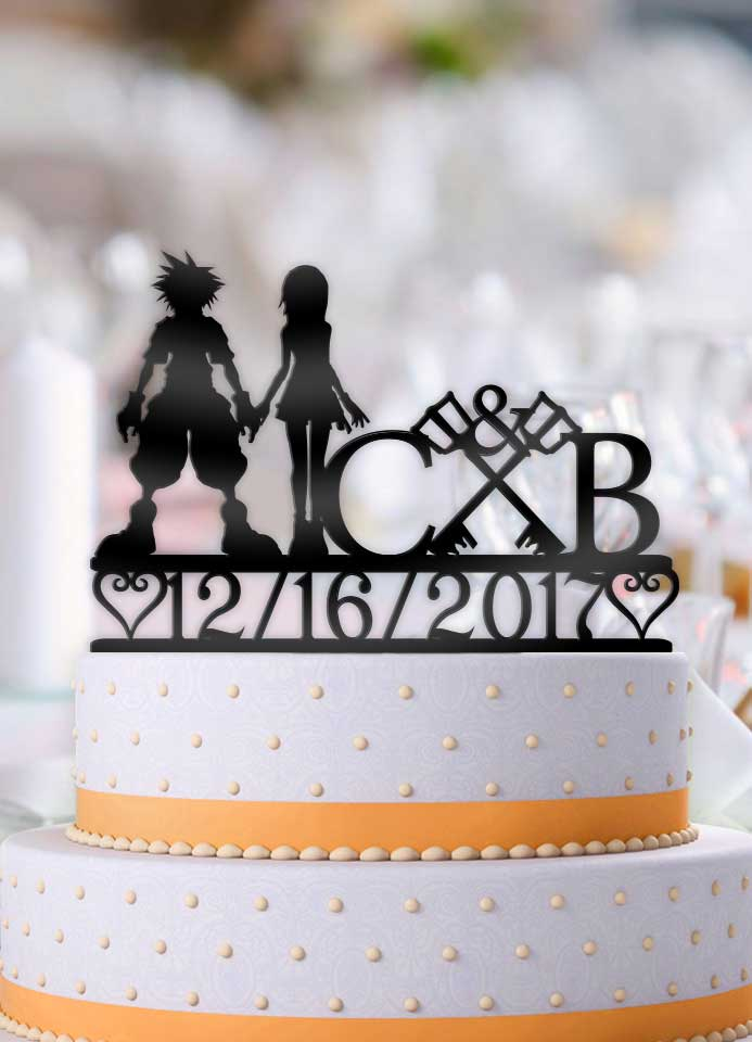 Personalized Sora and Kairi Keyblades with Initials and Date Wedding Cake Topper - Bee3dgifts