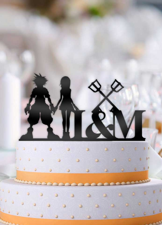Personalized Sora and Kairi Keyblades with Initials Cake Topper - Bee3dgifts