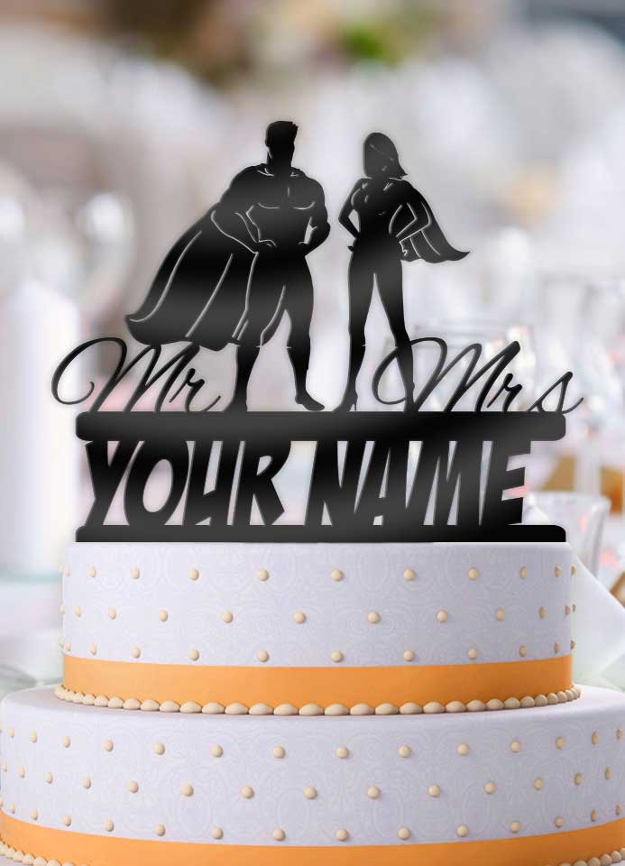Personalized Standing Super Couple with Name Wedding Cake Topper - Bee3dgifts