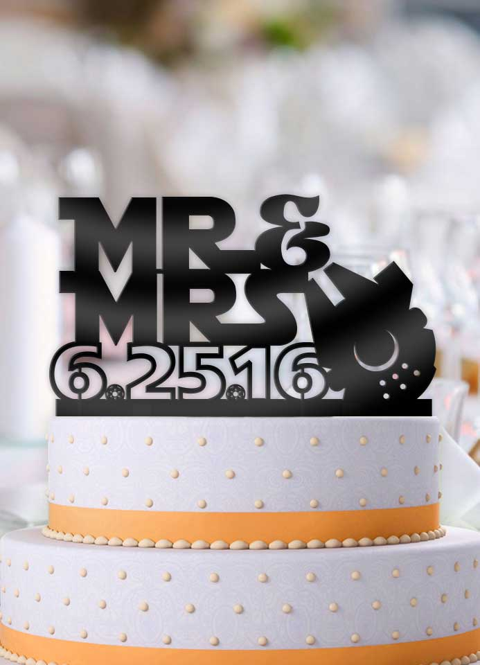Personalized Star Wars Mr and Mrs with Date Cake Topper - Bee3dgifts