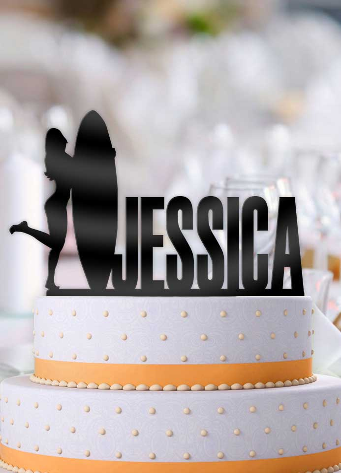 Personalized Female Surfer Birthday Cake Topper - Bee3dgifts