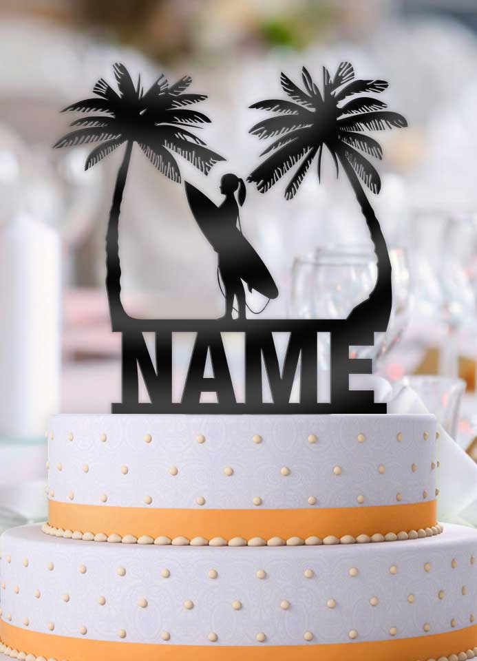 Personalized Female Surfer Tropical Scene Birthday Cake Topper - Bee3dgifts