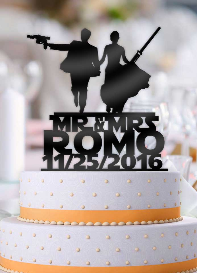 Personalized Star Wars Couple Mr Mrs with Name and Date Wedding Cake Topper - Bee3dgifts