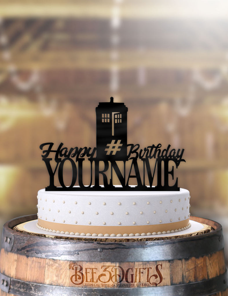 Excellent Personalized Doctor Who Tardis Happy Birthday With Age And Name Birthd Funny Birthday Cards Online Alyptdamsfinfo