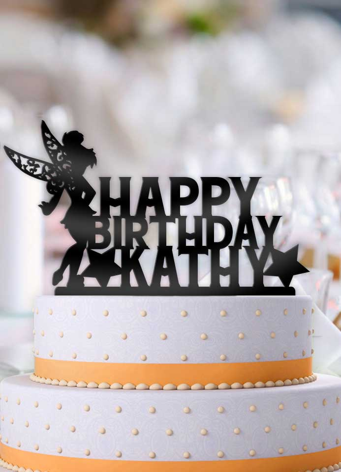 TinkerBell with Name Happy Birthday Cake Topper - Bee3dgifts