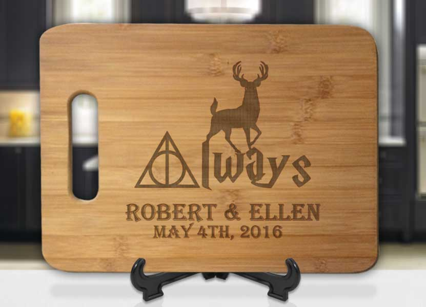 Personalized Harry Potter Always Deer with Names and Date Engraved Cutting Board - Bee3dgifts
