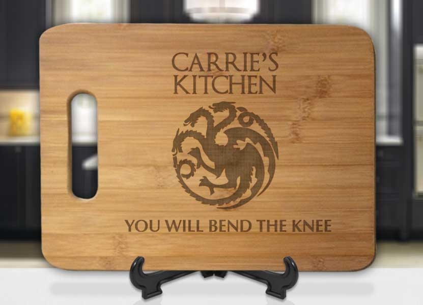 Personalized Name's Kitchen GoT You Will Bend The Knee Engraved Cutting Board