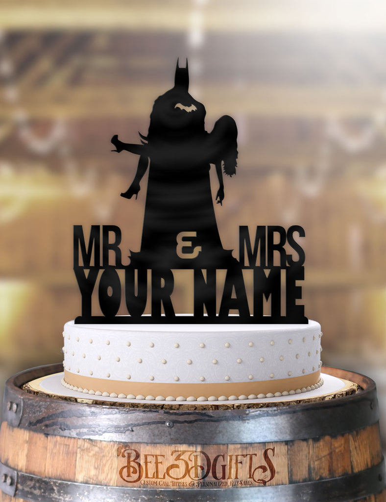 Personalized Batman Holding Bride with Name Cake Topper - Bee3dgifts