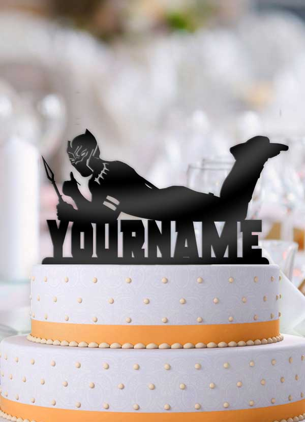 Personalized Black Panther Cool Birthday Cake Topper - Bee3dgifts