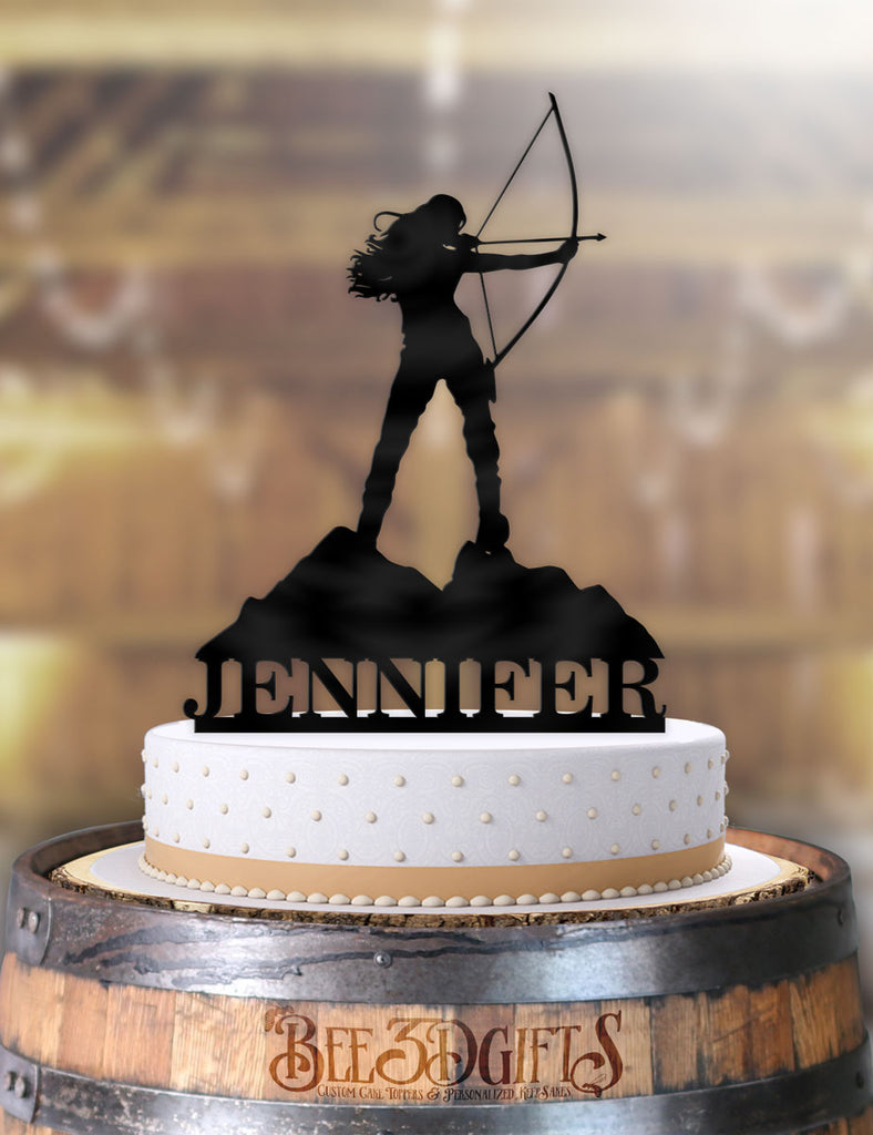 Personalized Female Archer Birthday Cake Topper - Bee3dgifts