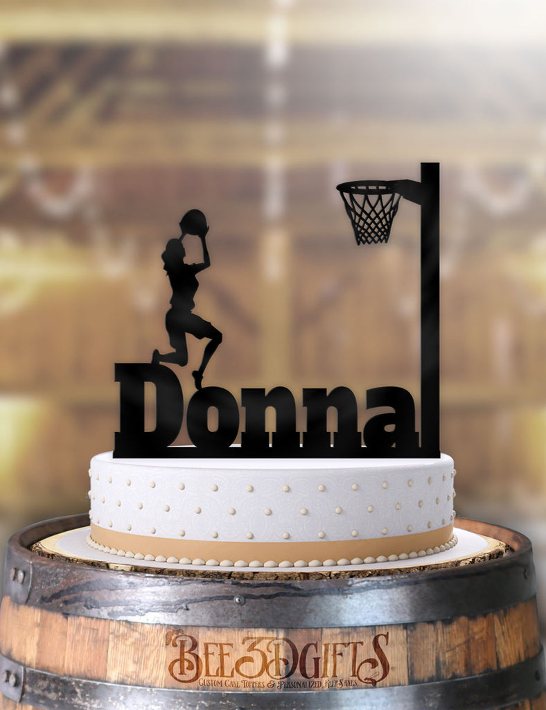 Personalized Basketball Female 3 Point Shot Birthday Cake Topper