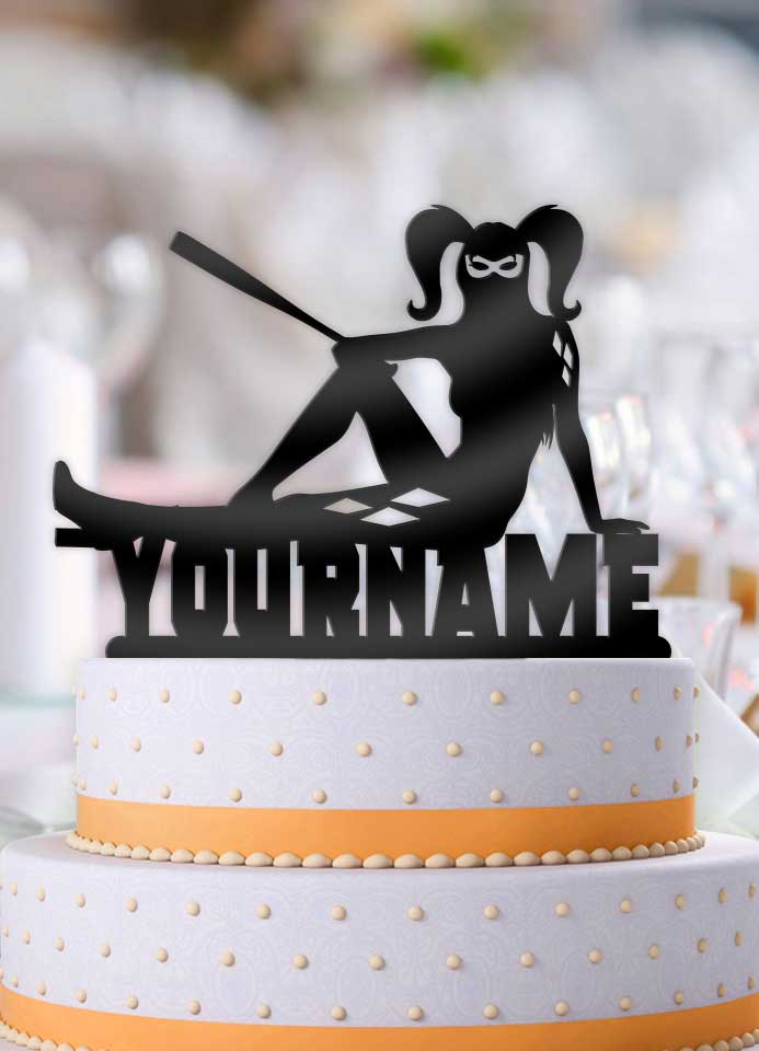 Personalized Harley Quinn Cool Birthday Cake Topper Bee3dgifts