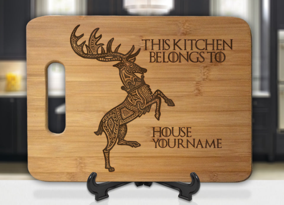 Personalized Name GoT Baratheon This Kitchen Belongs To House Engraved Cutting Board - Bee3dgifts