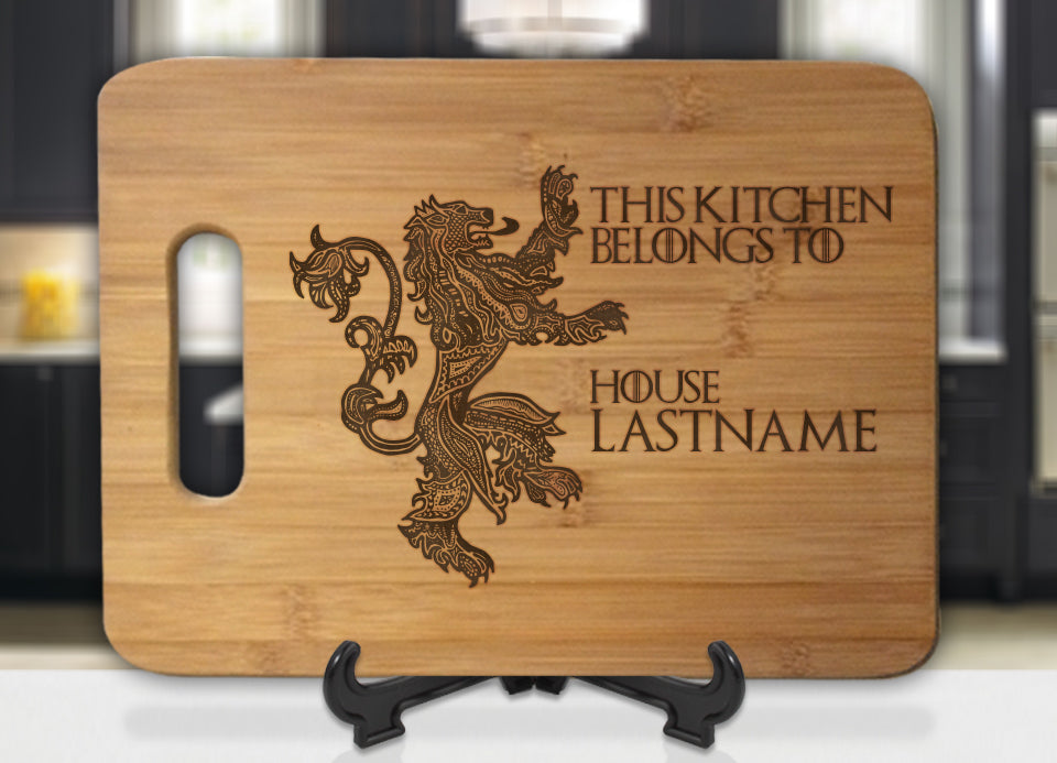 Personalized Name GoT Mormont This Kitchen Belongs To House Engraved Cutting Board - Bee3dgifts
