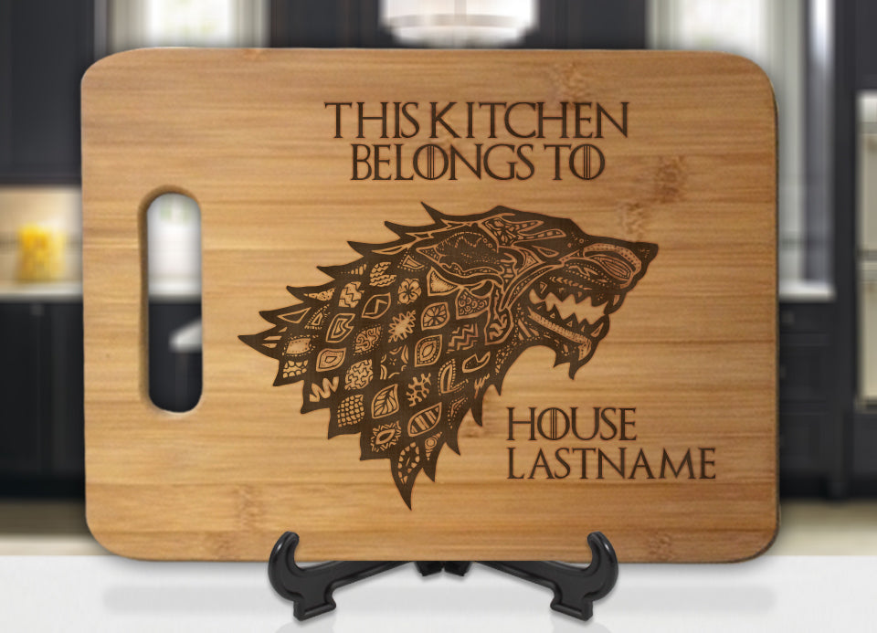 Personalized Name GoT Stark This Kitchen Belongs To House Engraved Cutting Board - Bee3dgifts