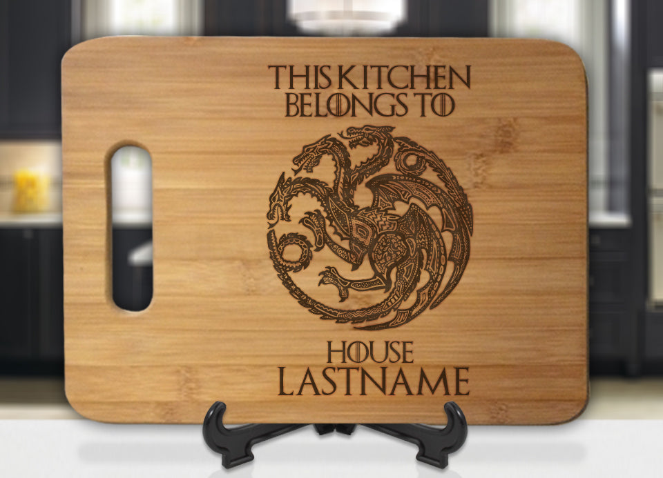 Personalized Name GoT Targaryen This Kitchen Belongs To House Engraved Cutting Board - Bee3dgifts