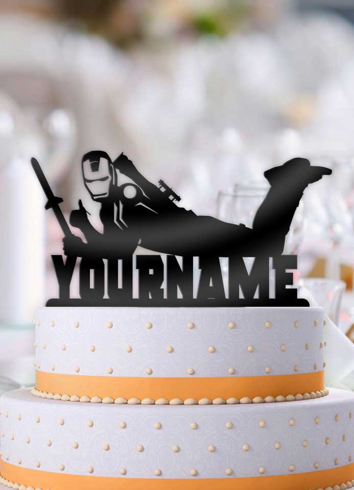 Personalized Iron Man Cool Birthday Cake Topper